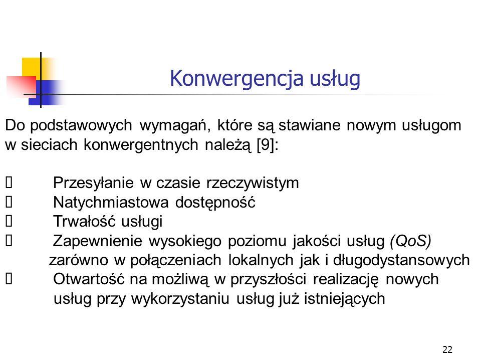 Konwergencja usług Do podstawowych wymagań, które są stawiane nowym usługom. w sieciach konwergentnych należą [9]:
